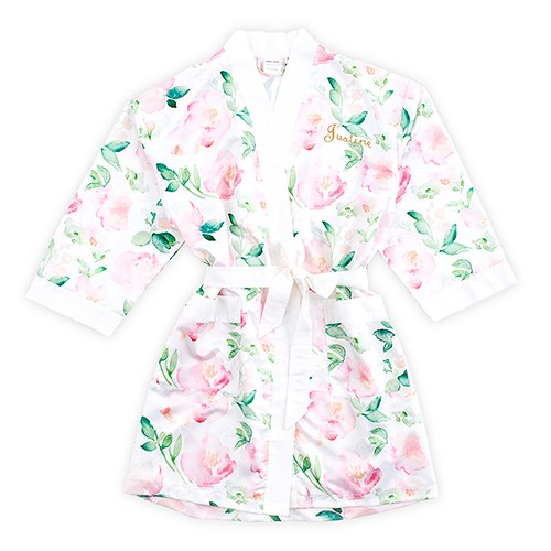 Pink Watercolor Floral Silky Kimono Robe On White - Relaxed Fit 7ff624ab2