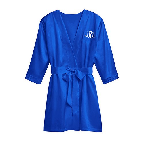 Women's Personalized Embroidered Satin Robe With Pockets- Royal Blue