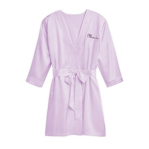 Women's Personalized Embroidered Satin Robe With Pockets- Lavender / Light Purple