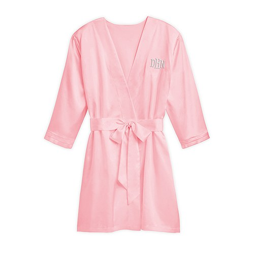 Women S Personalized Embroidered Satin Robe With Pockets Light Pink