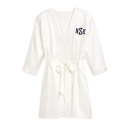Women s Personalized Embroidered Satin Robe with Pockets- White d1cf51b66