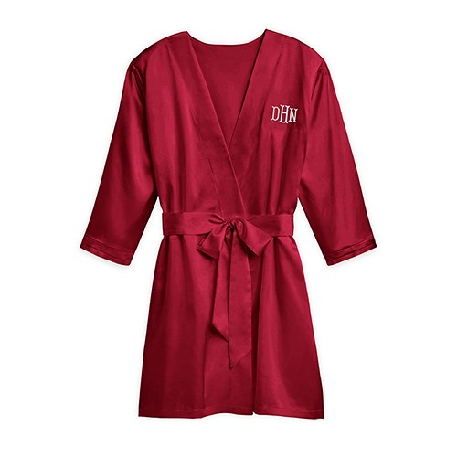 Silky Kimono Robe - Ruby Red Relaxed Fit