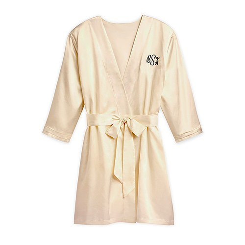 Women's Personalized Embroidered Satin Robe with Pockets- Gold