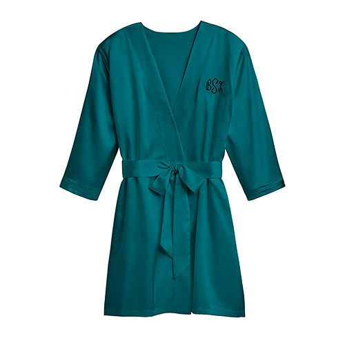 Women's Personalized Embroidered Satin Robe with Pockets- Hunter Green