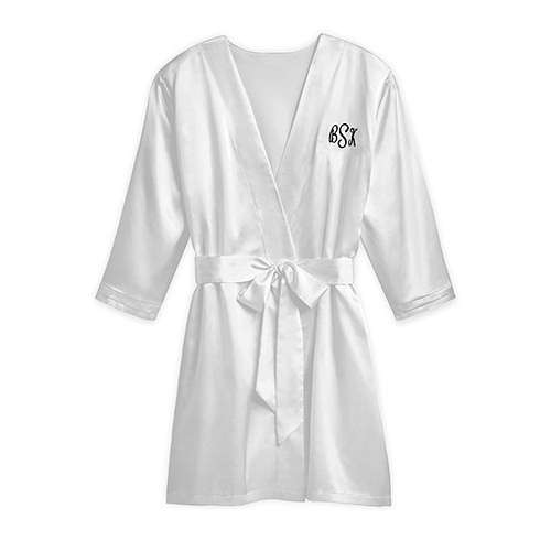 Women's Personalized Embroidered Satin Robe with Pockets- Silver