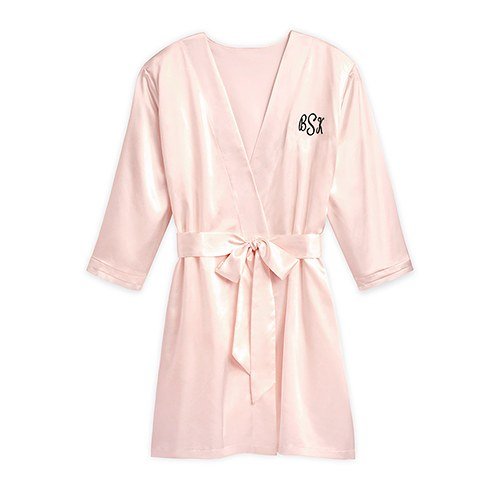 b1965b5d9 Women s Personalised Satin Robe with Pockets - Blush Pink - Confetti.co.uk