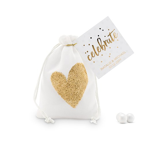 Cotton Drawstring Bag with Gold Heart - Small