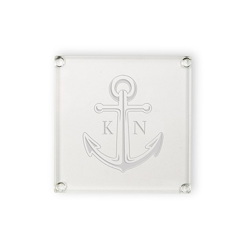 Monogram Anchor Glass Coaster