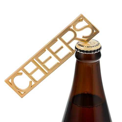 Gold CHEERS Bottle Opener Wedding Favor