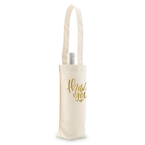 Thank You Natural Canvas Wine Tote Bag