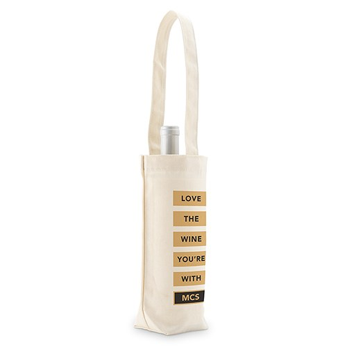 Love The Wine You're With Personalized Natural Canvas Wine Tote Bag