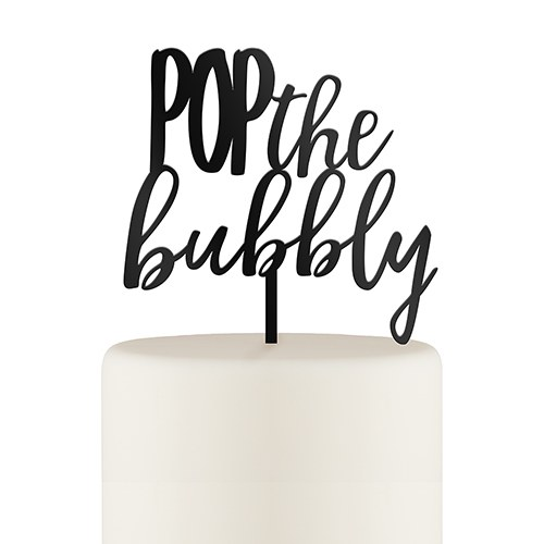 Pop the Bubbly Engagement Cake Topper