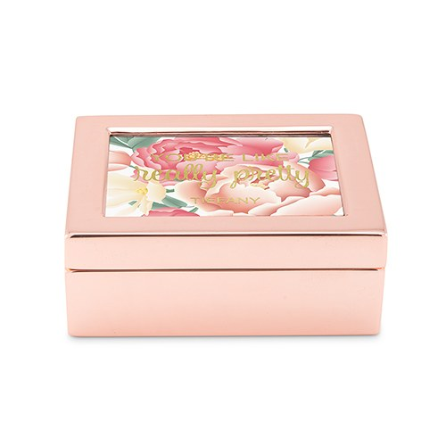 Small Personalized Modern Metal Jewelry Box– Really Pretty Floral Print