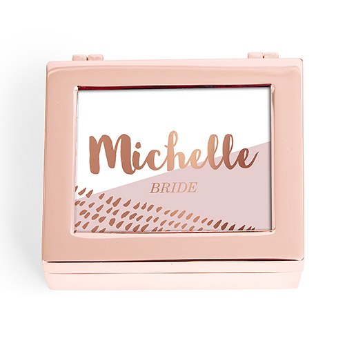 Small Personalized Modern Metal Jewelry Box– Retro Luxe Foil Print