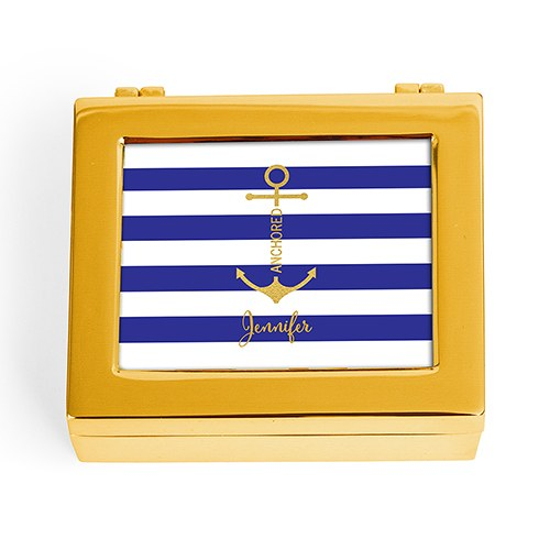 Small Personalized Modern Metal Jewelry Box - Navy-Blue Striped Anchor Print