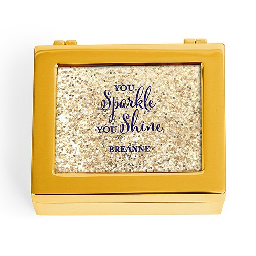 Small Personalized Modern Metal Jewelry Box - Sparkle Shine Glitter Print