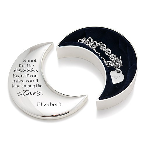 Small Personalized Silver Half Moon Jewelry Box – Shoot for The Moon Engraving