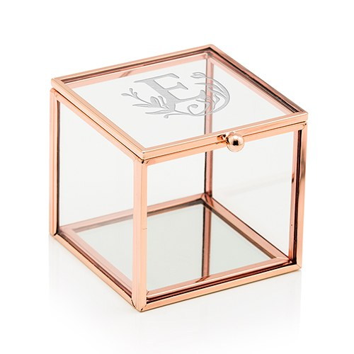 Rose Gold and Glass Jewelry Box Modern Fairy Tale Etching The