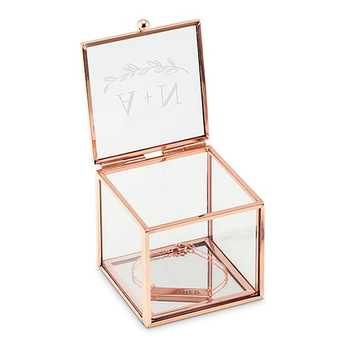 Small Personalized Rose Gold Glass Jewelry Box– Garland Engraving