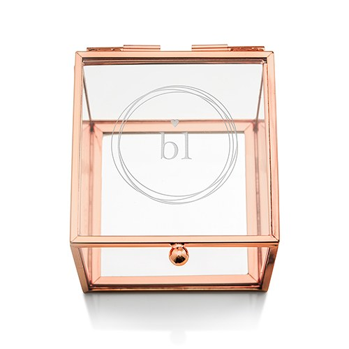 Small Personalized Rose Gold Glass Jewelry Box – Little Heart Engraving