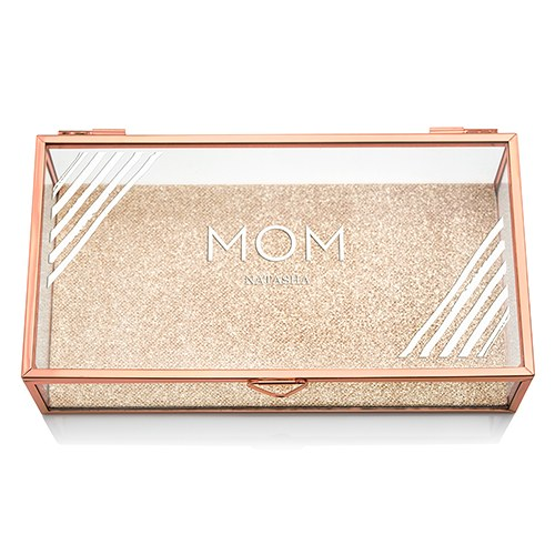 Large Personalized Rectangle Glass Jewelry Box - Retro Luxe