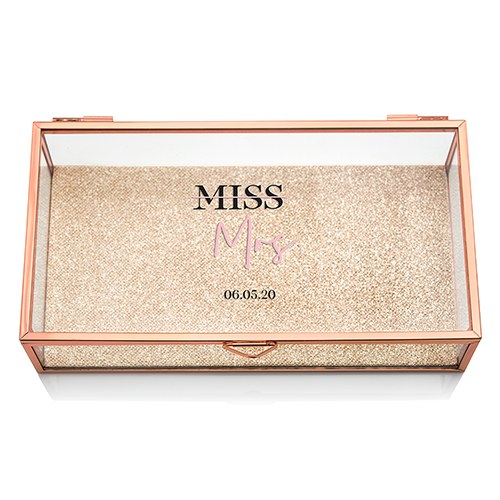 Large Personalized Rectangle Glass Jewelry Box - Miss to Mrs