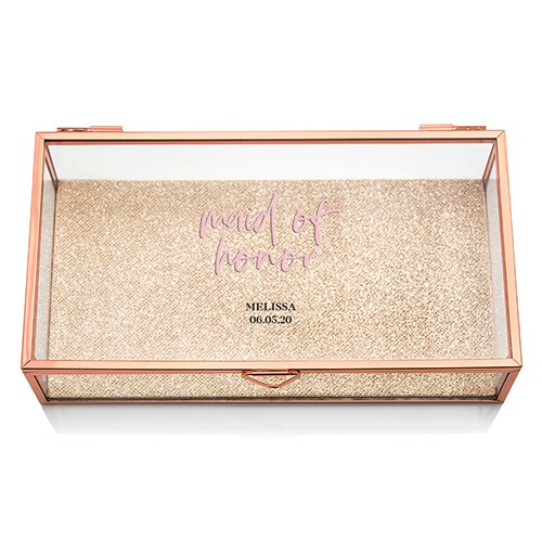 Large Personalized Rectangle Glass Jewelry Box - Maid of Honor