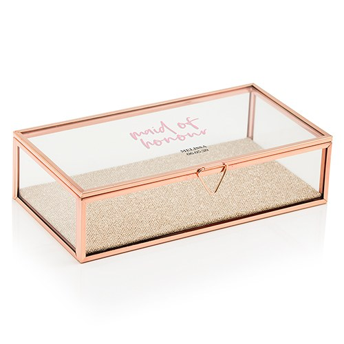 Large Personalized Rectangle Glass Jewelry Box - Maid of Honour