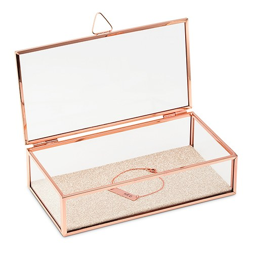 Glass Jewelry Box with Rose Gold  Edges