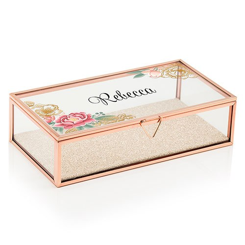 Large Glass Jewelry Box Glass Keepsake Box Modern Floral