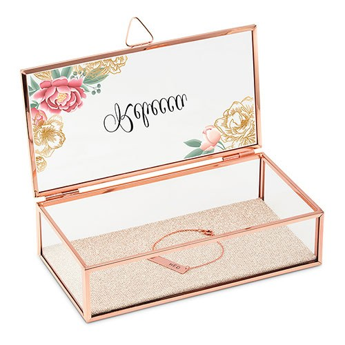 Large Personalized Rectangle Glass Jewelry Box– Modern Floral Print