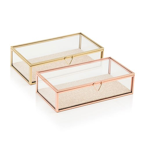 Personalized Glass Jewelry Box - Modern Floral Printing