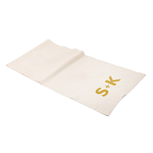 Personalized Off White Linen Table Runner - Times Square Monogram