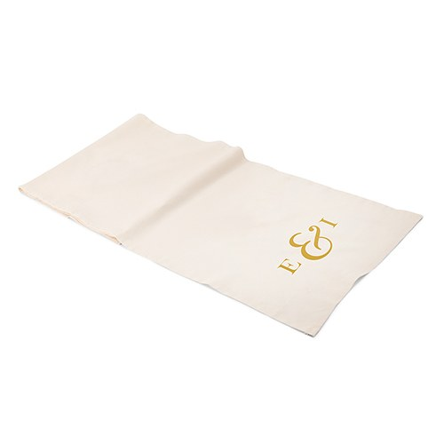 Personalized Off White Linen Table Runner - Monogram Simplicity Simple Ampersand