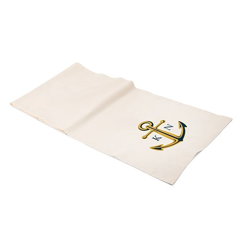 Personalized Off White Linen Table Runner   Anchor With Monogram