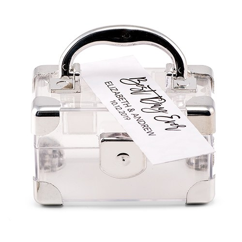 Mini Travel Suitcase Favor Box - Silver
