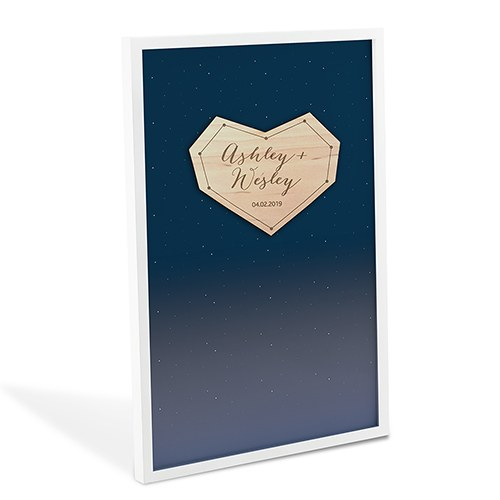 Starry Night Wedding Drop Box Guest Book with Hearts
