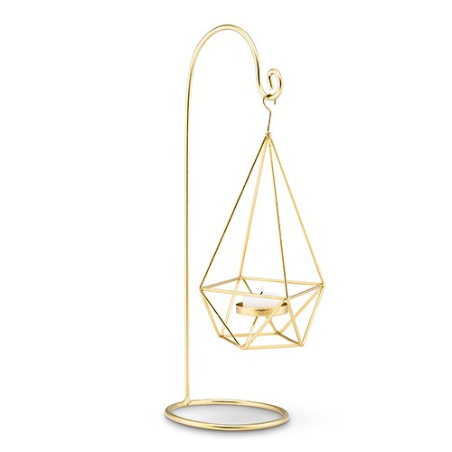 Large Gold Geometric Hanging Tealight Holder