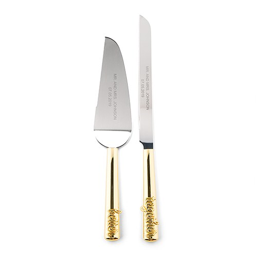 Gold Wedding Cake Knife & Server - Better Together