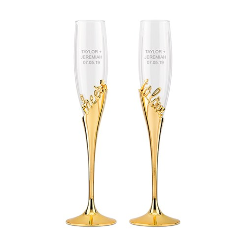 Gold Champagne Glasses - Cheers To Love