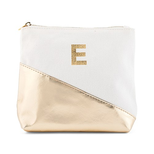Small Personalized Makeup Bag For Women Metallic Gold Dipped