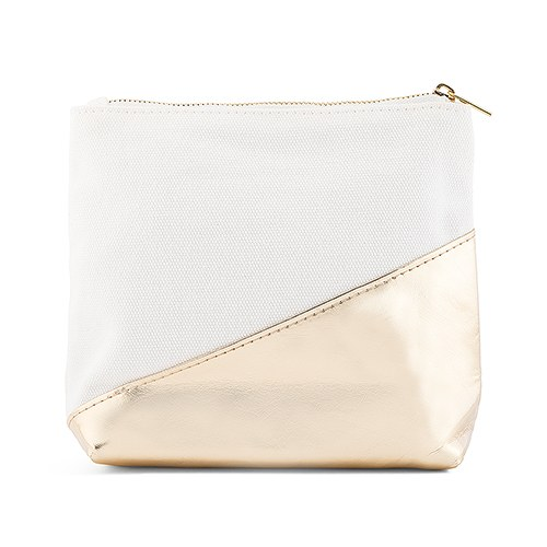 Canvas Zip Pouch With Metallic Gold