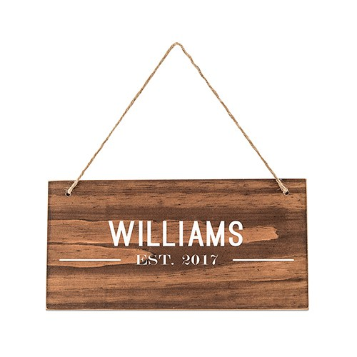 Small Personalized Wooden Wedding Sign - Natural - Bistro Print