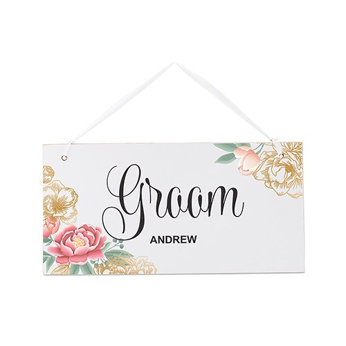 Small Personalized Wooden Wedding Sign - White Modern Floral - Groom
