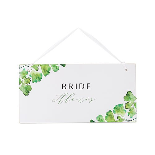Small Personalized Wooden Wedding Sign - White Adiantum Greenery