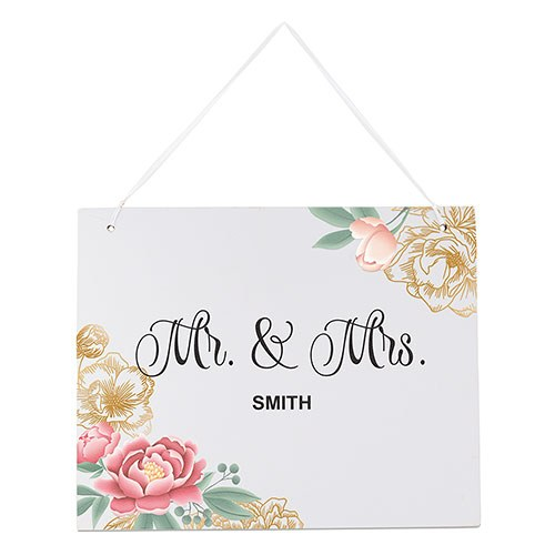 Medium Personalized Wooden Wedding Sign - White Modern Floral