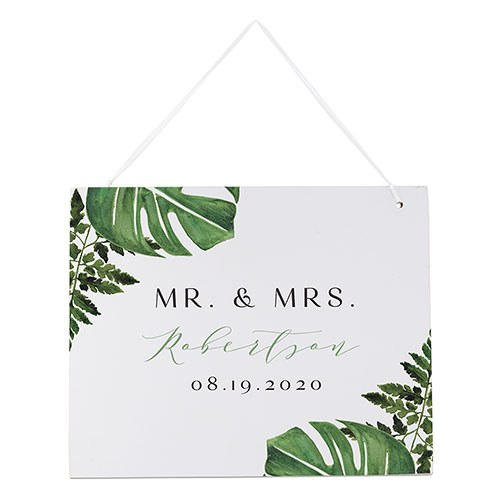 Medium Personalized Wooden Wedding Sign - Semi-Open Message White Greenery
