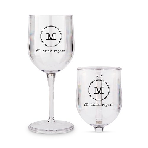 Portable Nesting Wine Glass - Typewriter Monogram