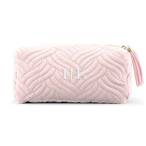 Quilted Velvet Travel Makeup Bag - Blush Pink