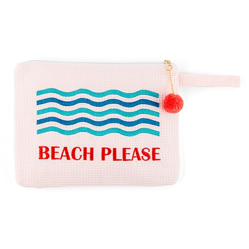 Blush Bikini Bag - Beach Please Embroidery
